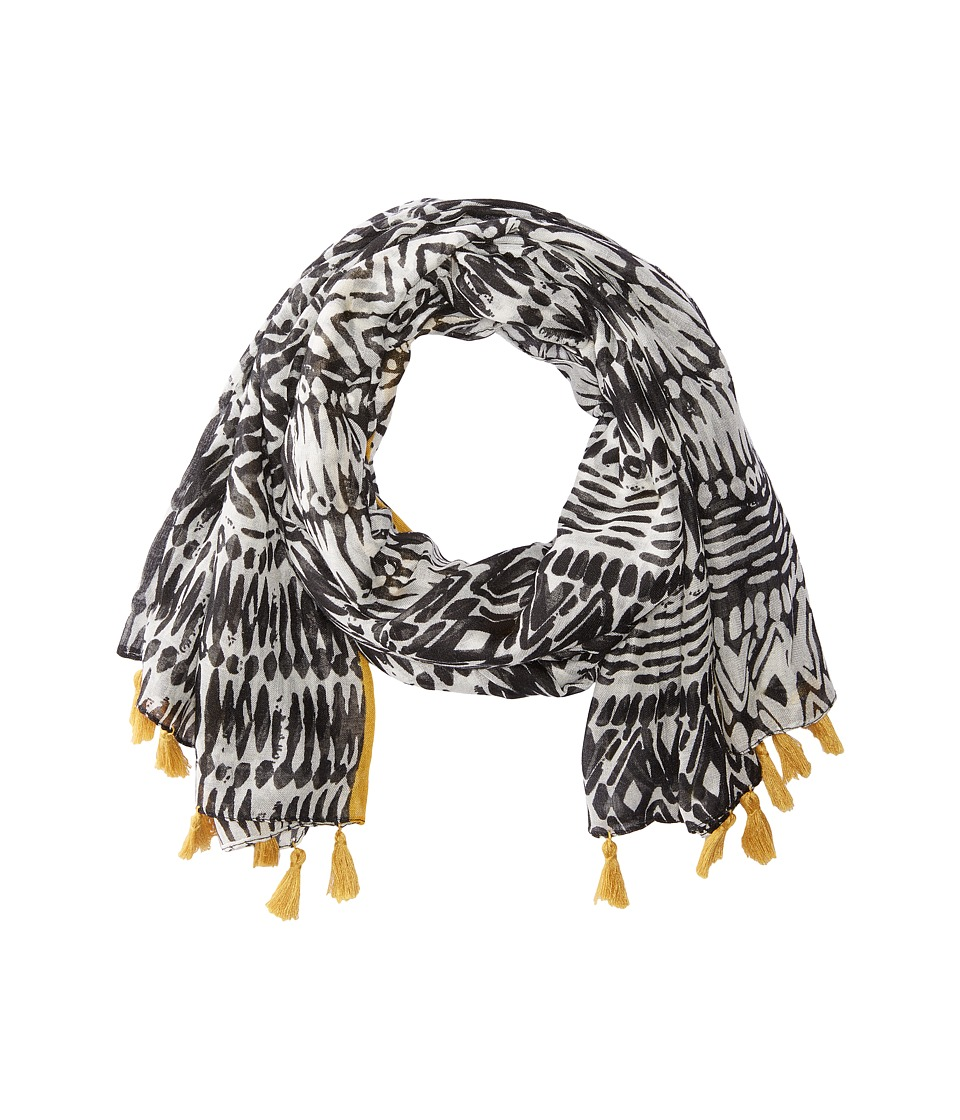 San Diego Hat Company - BSS1740 Woven Tribal All Over Print with Tassel (Black) Scarves