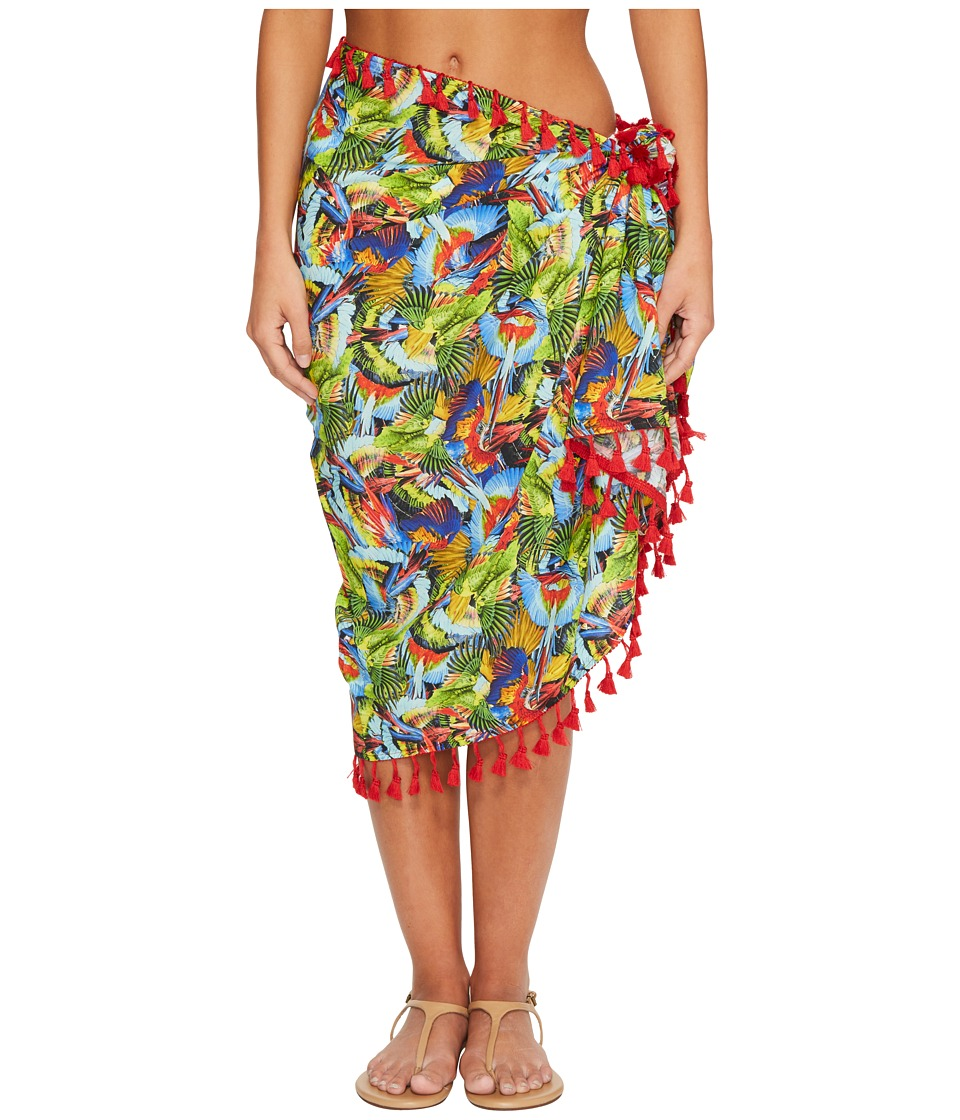 San Diego Hat Company - BSS1806 Woven Bird Print Sarong Cover-Up (Multi) Scarves