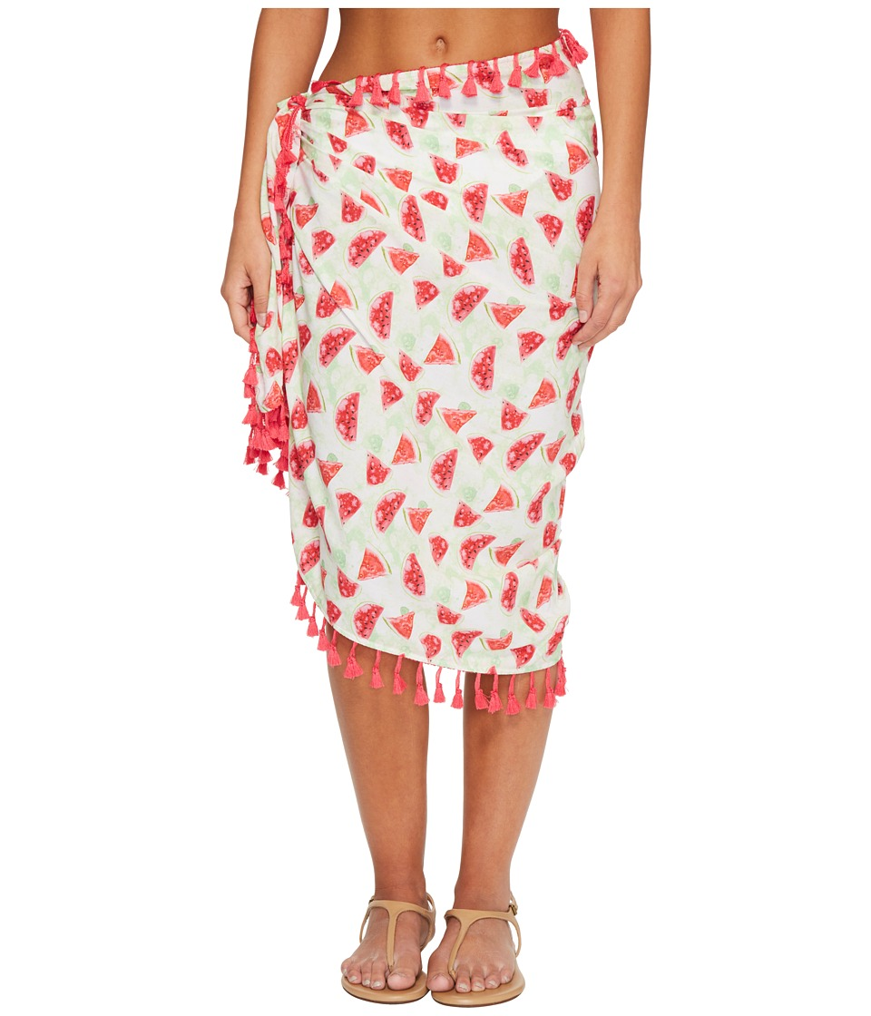 San Diego Hat Company - BSS1807 Woven Watermelon Print Sarong Cover-Up (Pink) Scarves