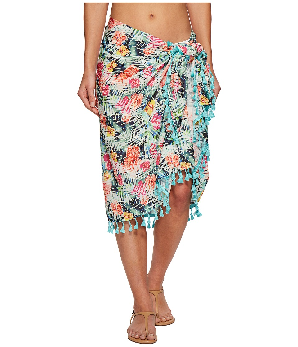 San Diego Hat Company - BSS1814 Woven Tropical Print Sarong Cover-Up (Multi) Scarves