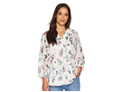 Ivanka Trump Long Sleeve Printed Blouse with V-Neck and Open Hem