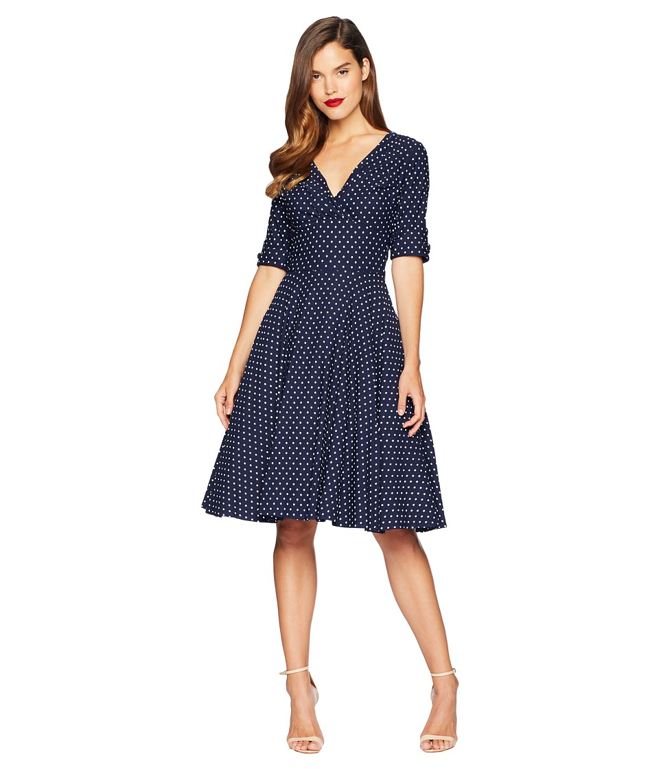 Unique Vintage - Delores Swing Dress (Navy/White Dot) Womens Dress