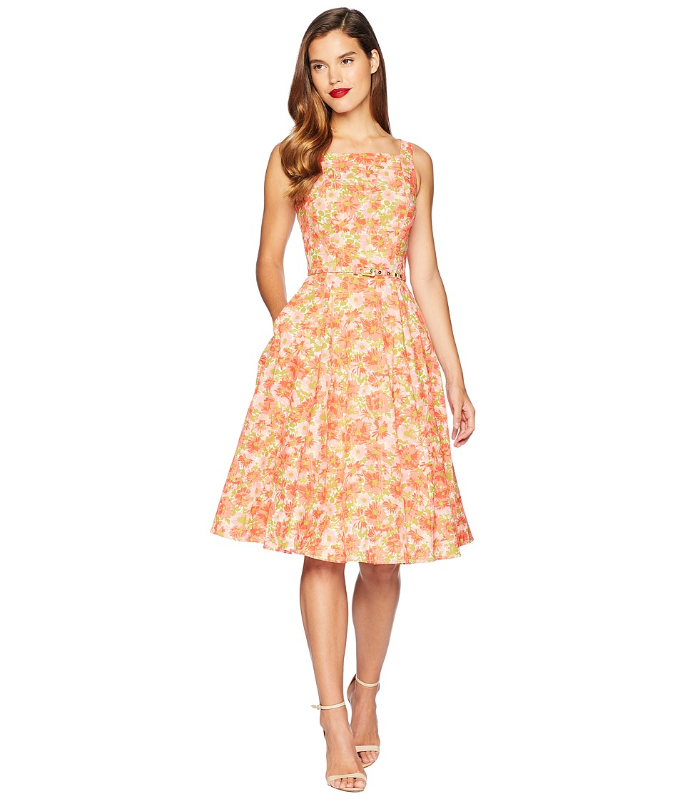 Unique Vintage - Harriet Swing Dress (Coral Orange Floral) Womens Dress