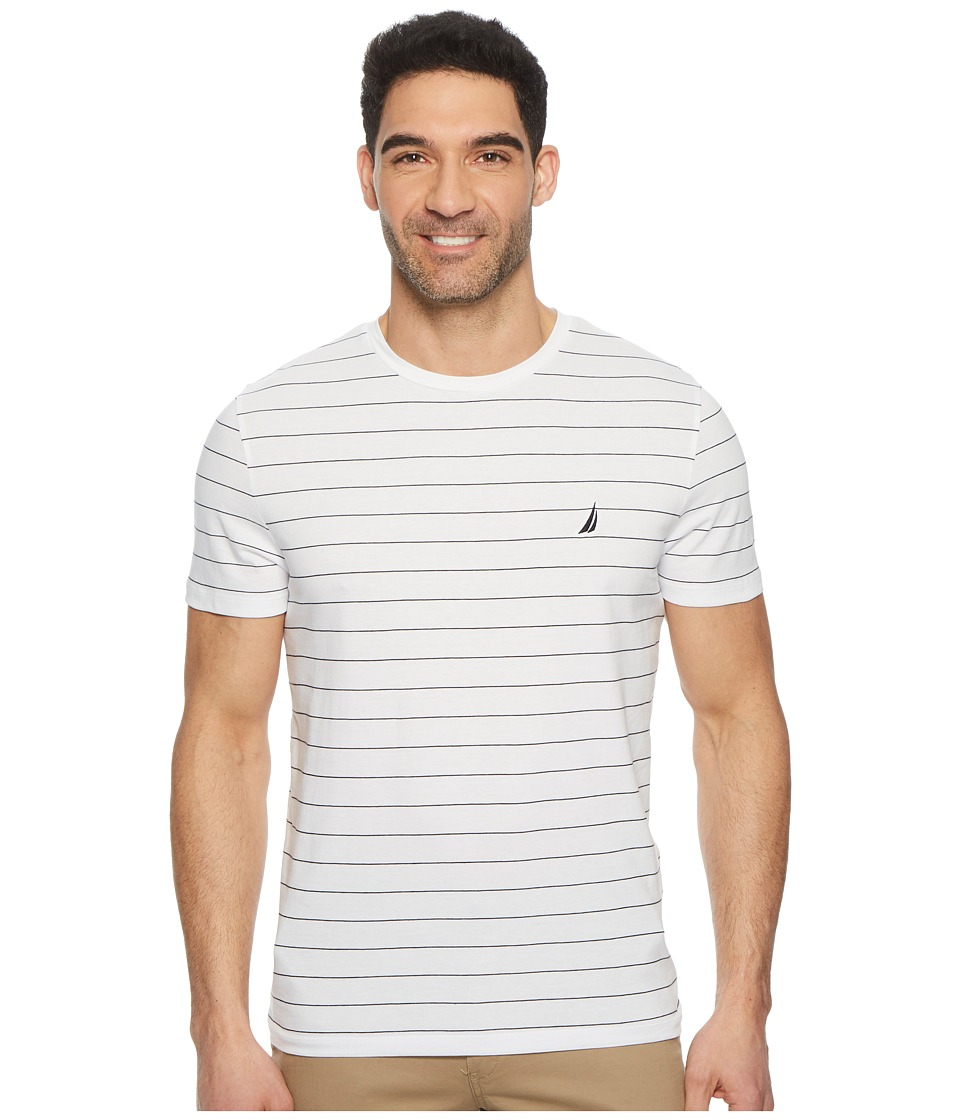 Nautica - Yarn-Dyed Stripe Crew T-Shirt (Bright White) Mens T Shirt