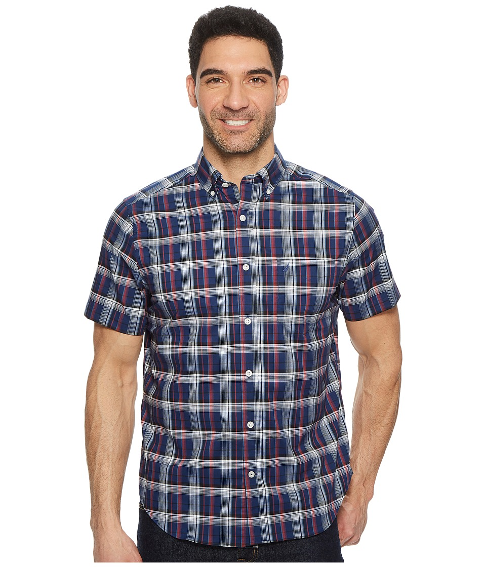 Nautica Wear To Work Short Sleeve Large Plaid Woven Shirt (Sailor Red) Men's  Short Sleeve Button Up