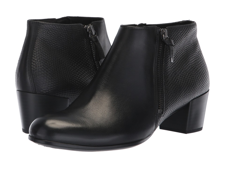 ECCO Shape M 35 Ankle Boot (Black/Black Cow Leather) Women's  Boots