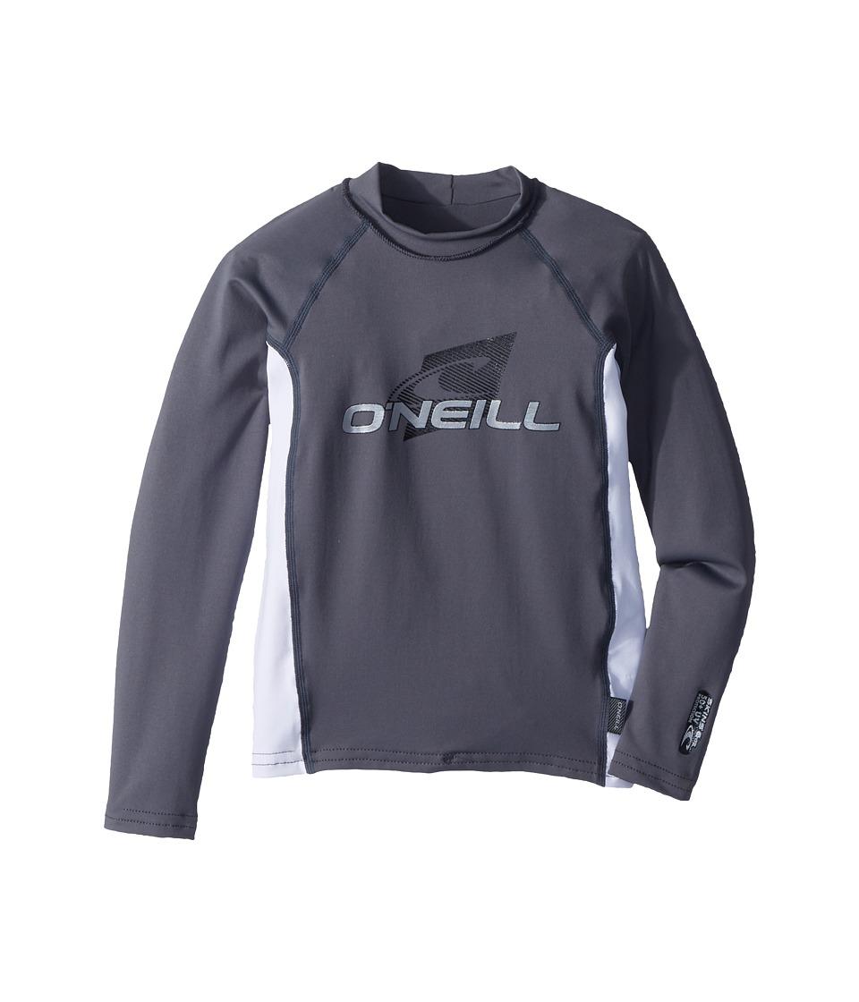 ONeill Kids - Skins Long Sleeve Crew (Little Kids/Big Kids) (Graphite/White/Graphite) Kids Swimwear