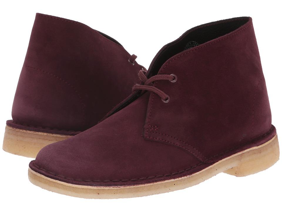 Clarks Desert Boot (Bordeaux Suede) Women's Lace-up Boots
