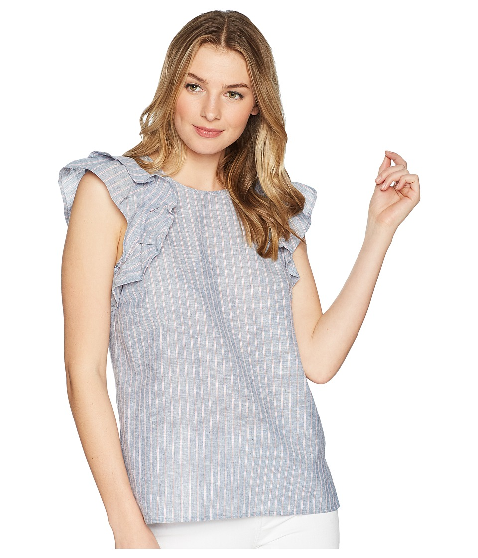 1.STATE - Flounce Sleeve Linen Stripe (Chambray) Womens Clothing