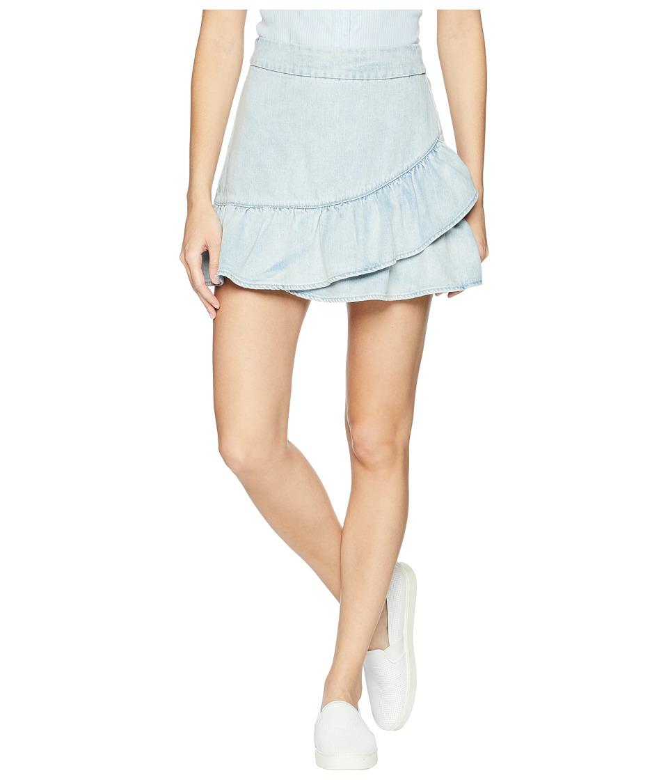 1.STATE - Ruffle Edge Denim Mini Skirt (Reef Wash) Women'...