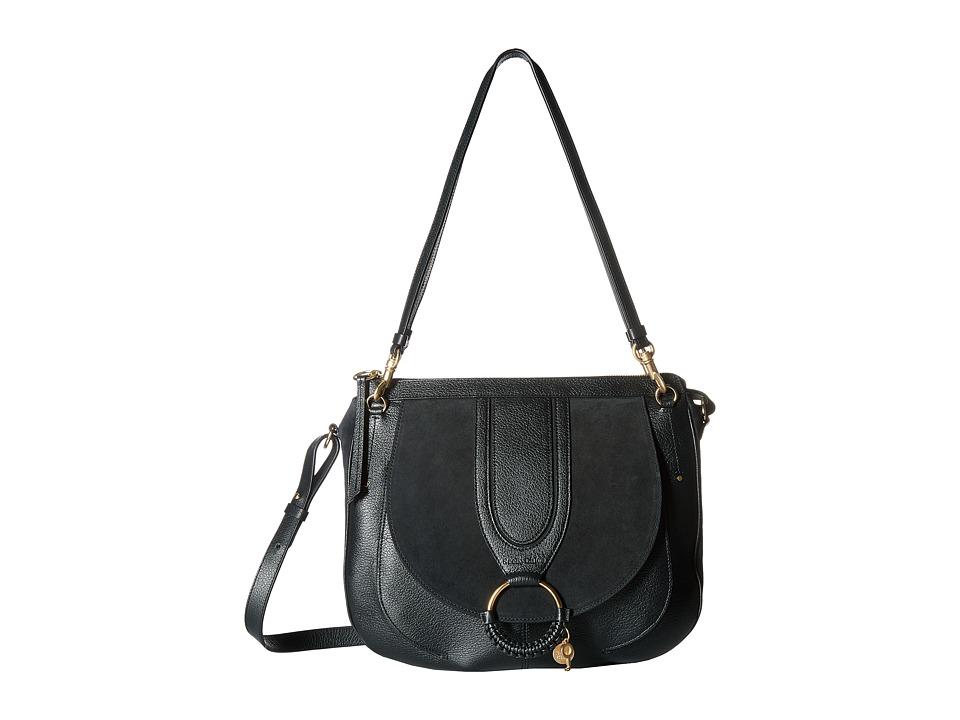 See by Chloe Hana Large Suede Leather Tote (Black) Tote Handbags
