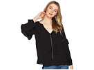 1.STATE 1.STATE Split-Neck Blouson Sleeve Top with Tassels