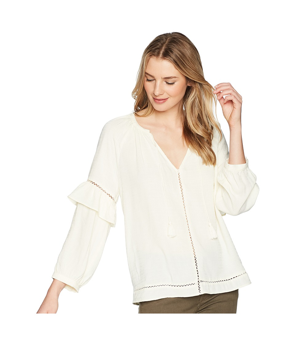 1.STATE Split-Neck Blouson Sleeve Top with Tassels (Antique White) Women's Clothing