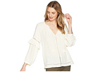 1.STATE Split-Neck Blouson Sleeve Top with Tassels