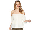 1.STATE Off Shoulder Button Down Top with Smocking