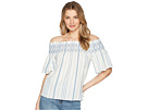 1.STATE 1.STATE Off Shoulder Smocked Shirt with Embroidery
