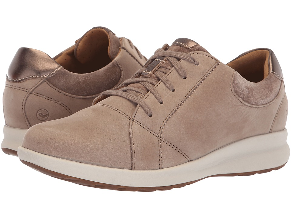 Clarks Un Adorn Lace (Pebble Nubuck/Suede Combination) Women's Shoes