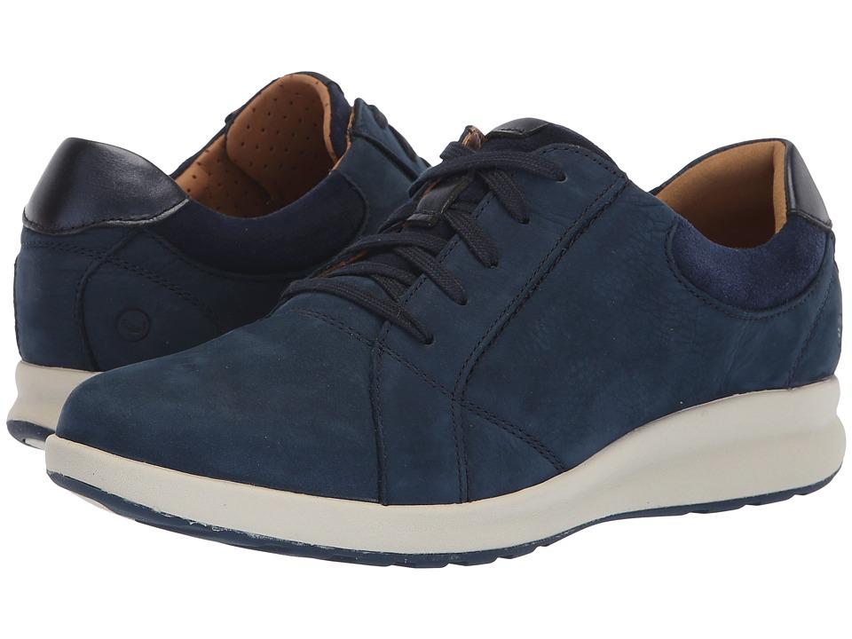 Clarks Un Adorn Lace (Navy Nubuck/Suede Combination) Women's Shoes
