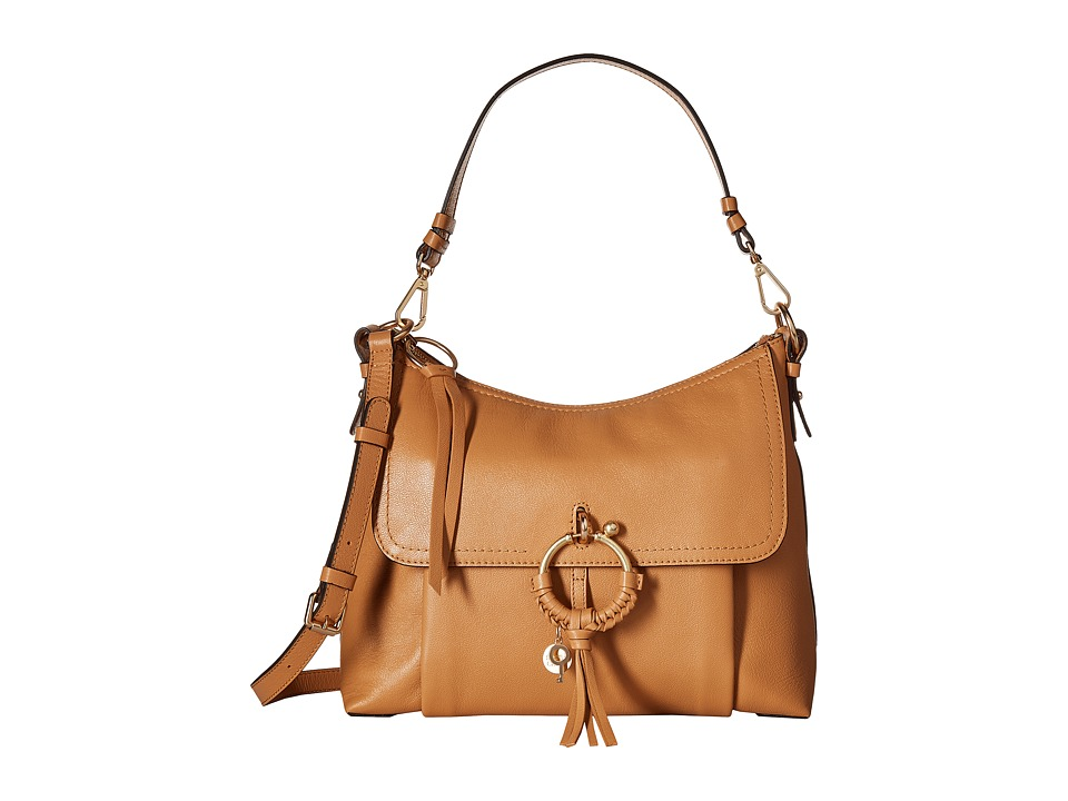 See by Chloe Medium Joan Leather Shoulder Bag (Smooth Tan) Shoulder Handbags