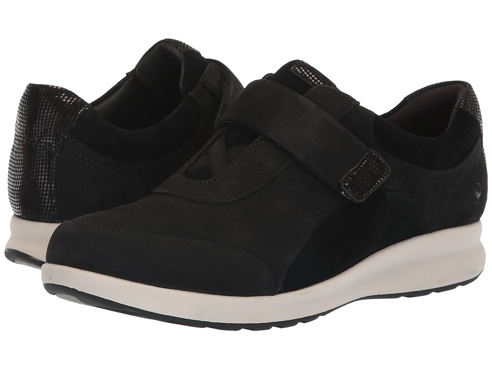 Clarks Un Adorn Lo (Black Nubuck/Suede Combination) Women's Shoes