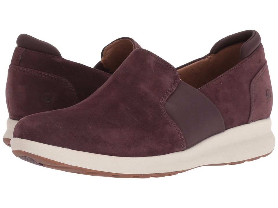 Clarks Un Adorn Step (Aubergine Nubuck) Women's Shoes