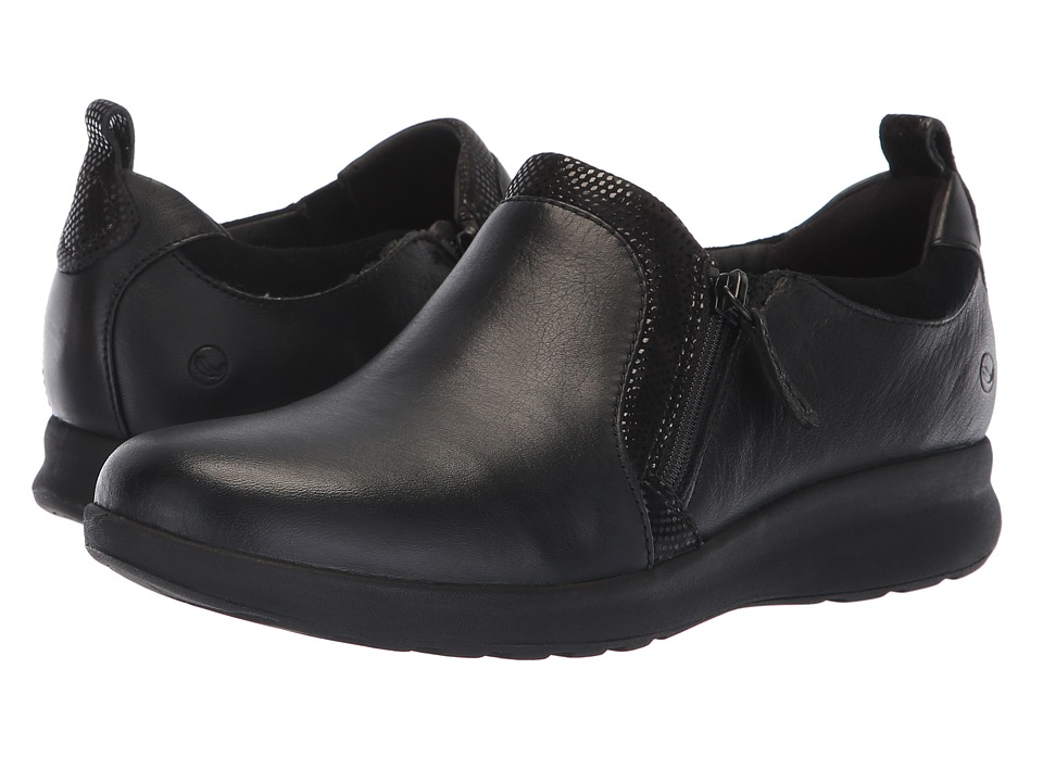 Clarks Un Adorn Zip (Black Leather/Suede Combination) Women's Shoes