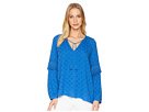 1.STATE Split-Neck Blouson Sleeve with Fringe