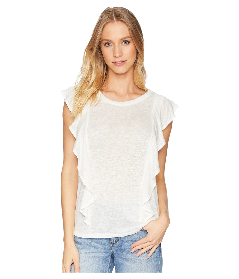 1.STATE Short Sleeve Linen Top with Ruffle Edge (New Ivory) Women's Clothing
