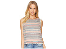1.STATE Sleeveless Frayed Edge Tweed Top