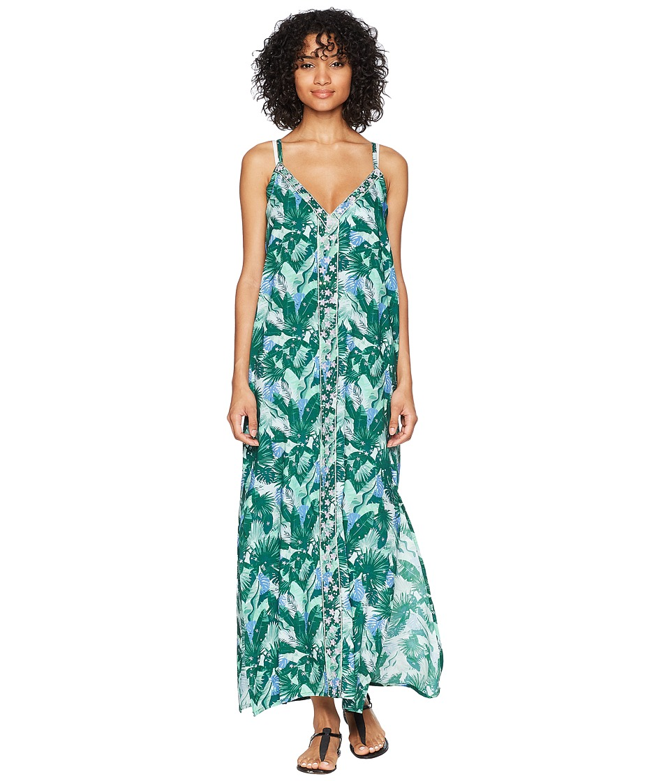 Letarte - Sleeveless Maxi Dress Cover-Up (Green Multi) Womens Swimwear