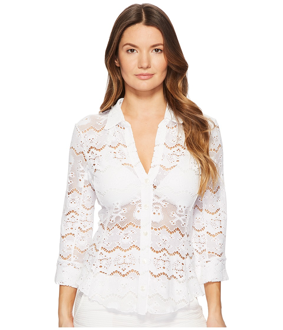 Letarte - Skull Lace Shirt (White) Womens Swimwear
