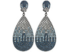 Nina Tear Drop Disk Pave Clip Earrings; Elements Of Swarovski