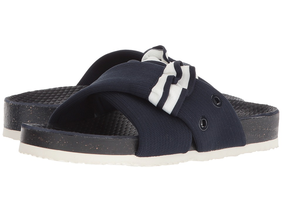 Tory Sport Ruffle Slide (Bright Navy/Snow White) Women's Shoes