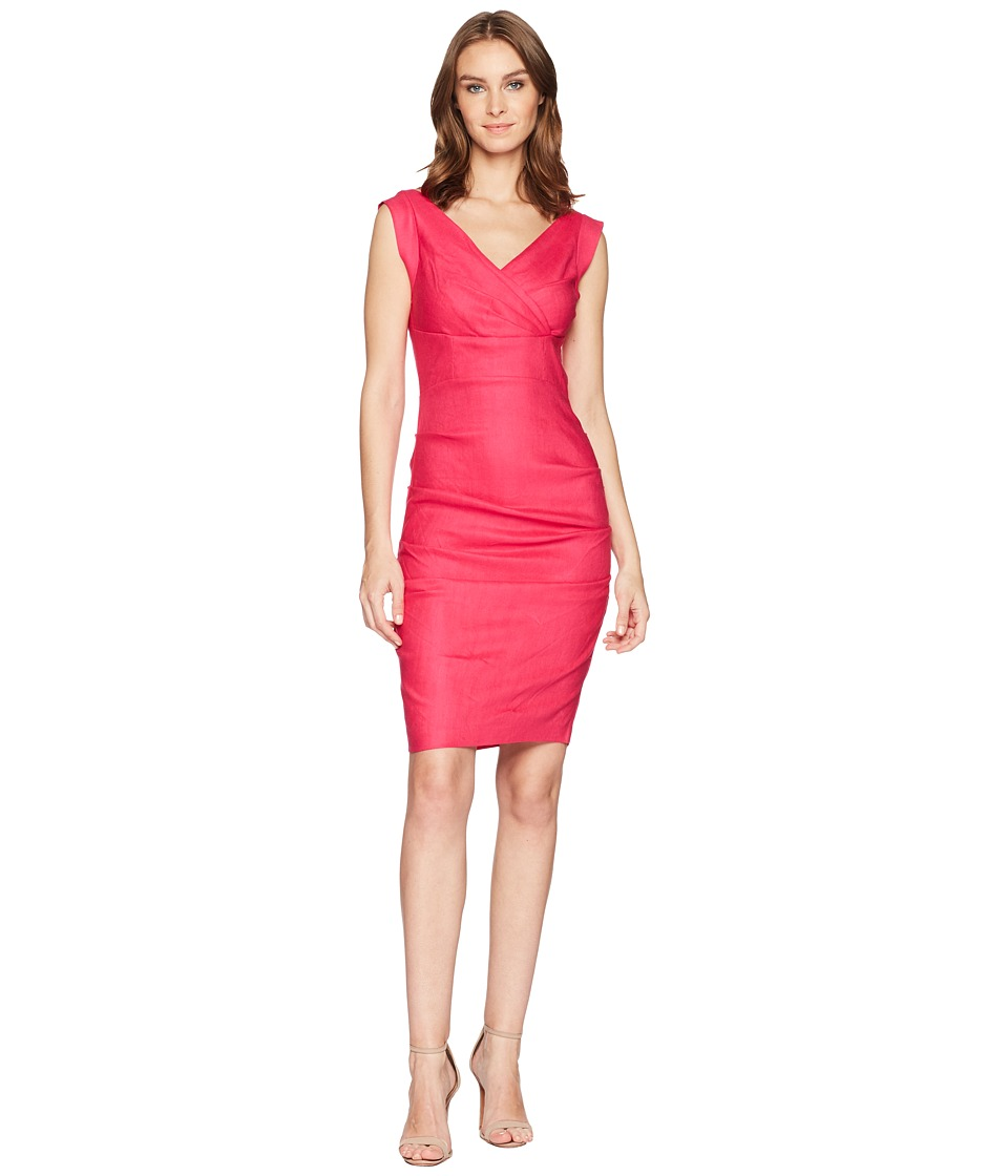 Nicole Miller - Andrea Stretch Linen Dress (Shocking Rosa) Womens Dress