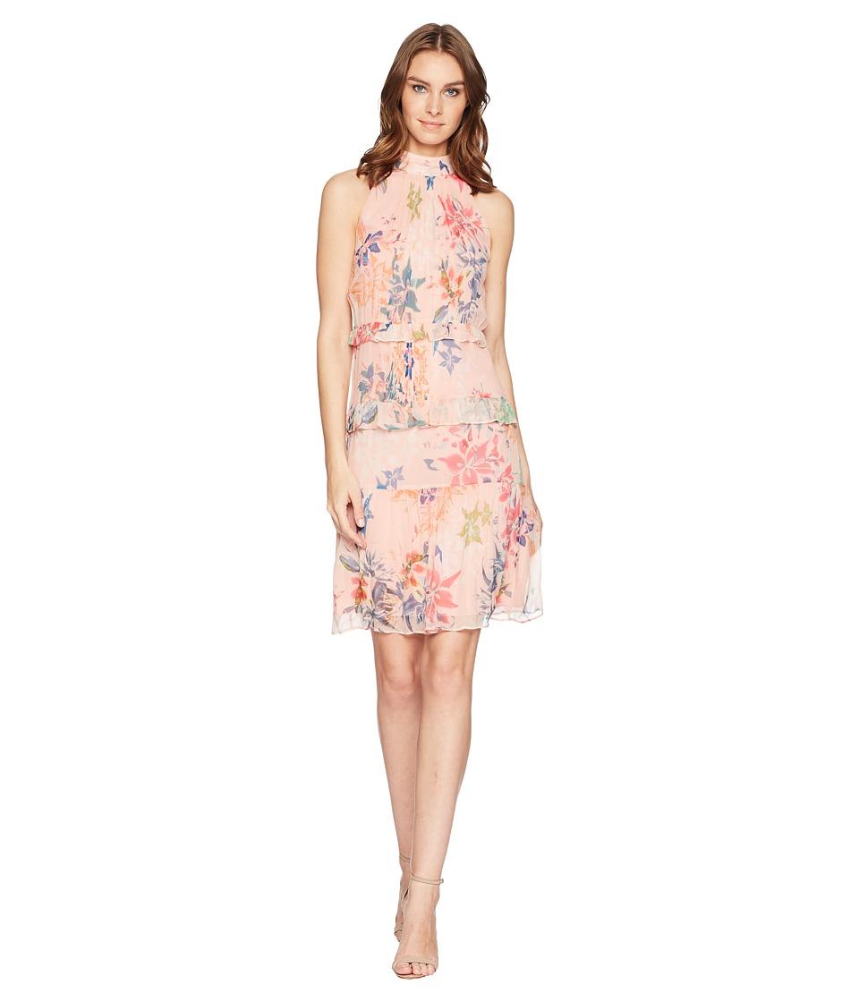 Nicole Miller - Mock Neck Dress (Blush Multi) Womens Dress