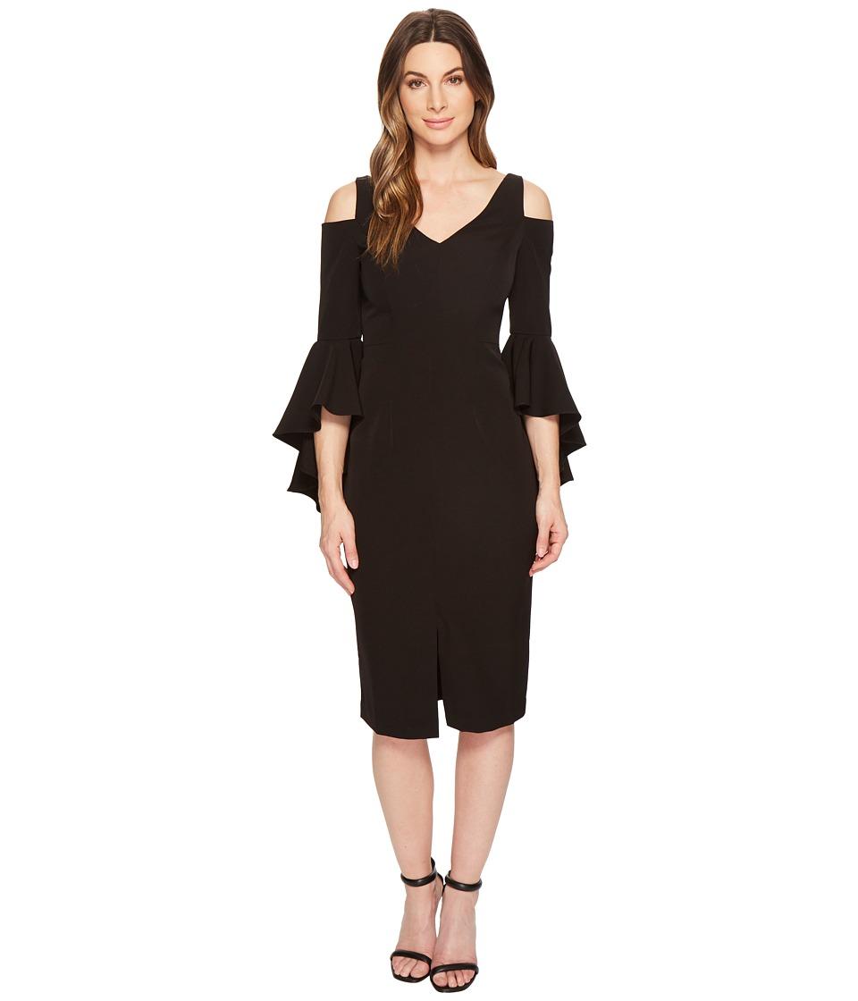 Maggy London - Cold Shoulder Sheath Dress with Ruffle Sleeve (Black) Womens Dress