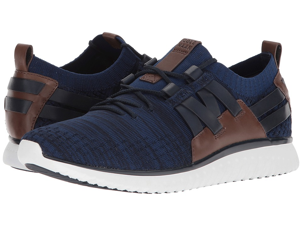 Cole Haan Grand Motion Woven Stitchlite (Navy Ink/Peony Knit/British Tan/Optic White) Men