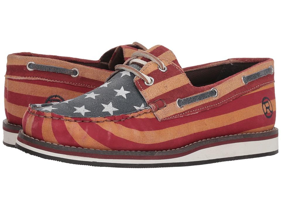 Roper American Beauty Moc (Stars & Stripes Sanded Leather) Slip-On Shoes