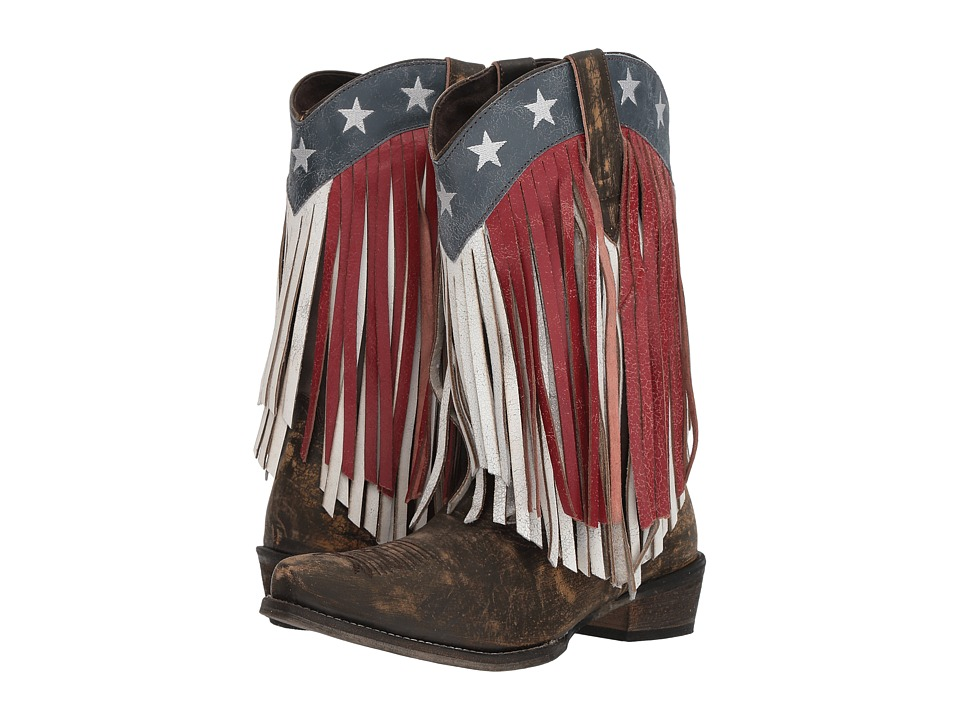 Roper American Beauty Fringe (Sanded Brown Leather/Red & White Fringe) Women's Cowboy Boots