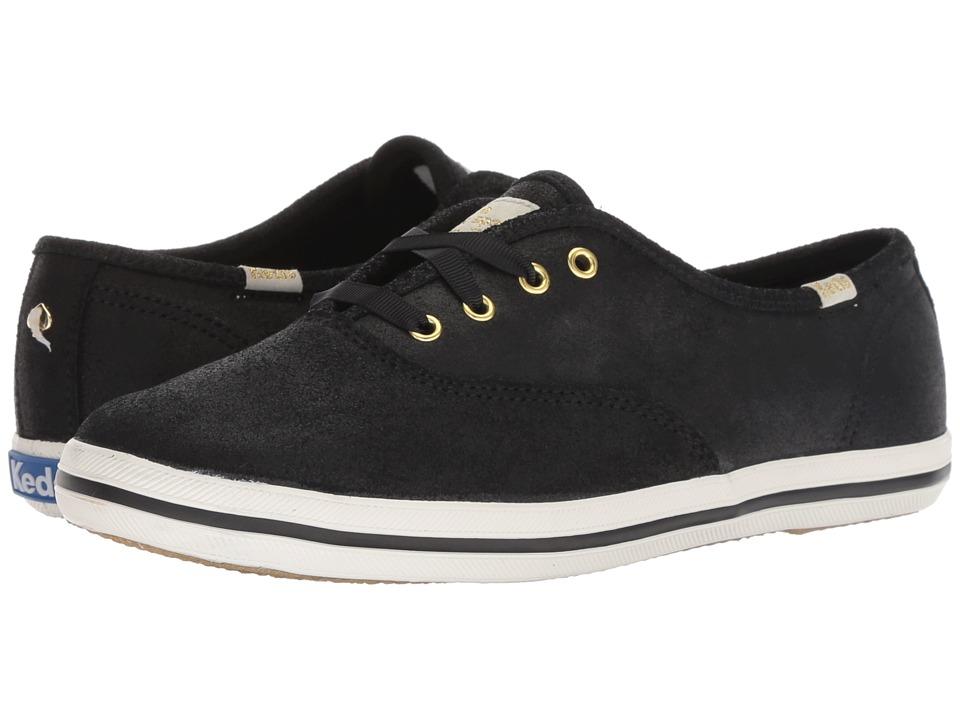Keds x kate spade new york Champion KS Metallic Kid Suede (Black) Women's Shoes