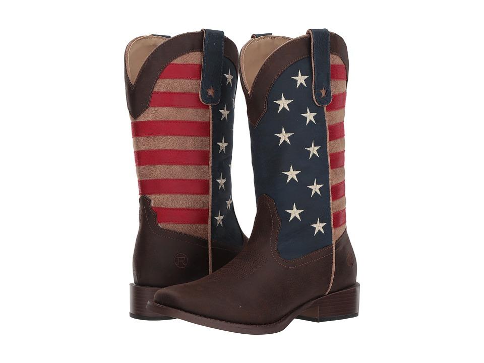 Roper American Patriot (Brown Vintage Faux Leather w/ Flag Shaft) Women's Cowboy Boots