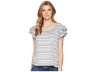 Ivanka Trump Knit Striped Ruffle Sleeve Off the Shoulder Top