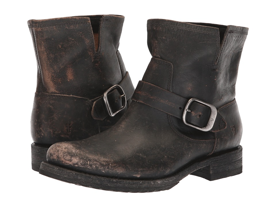 Frye Veronica Bootie (Black Full Grain Brush-Off) Women's  Boots
