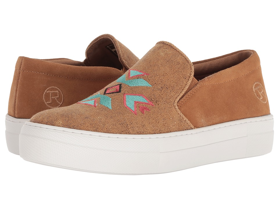 Roper Darcy (Tan Metallic Canvas/Aztec Embroidery) Slip-On Shoes