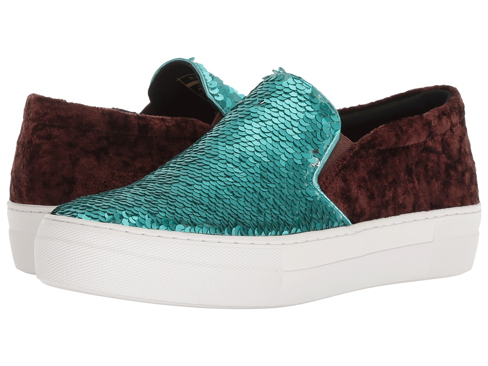 Roper Darcy (Turquoise & Silver Reversible Sequins/Brown Velvet) Slip-On Shoes