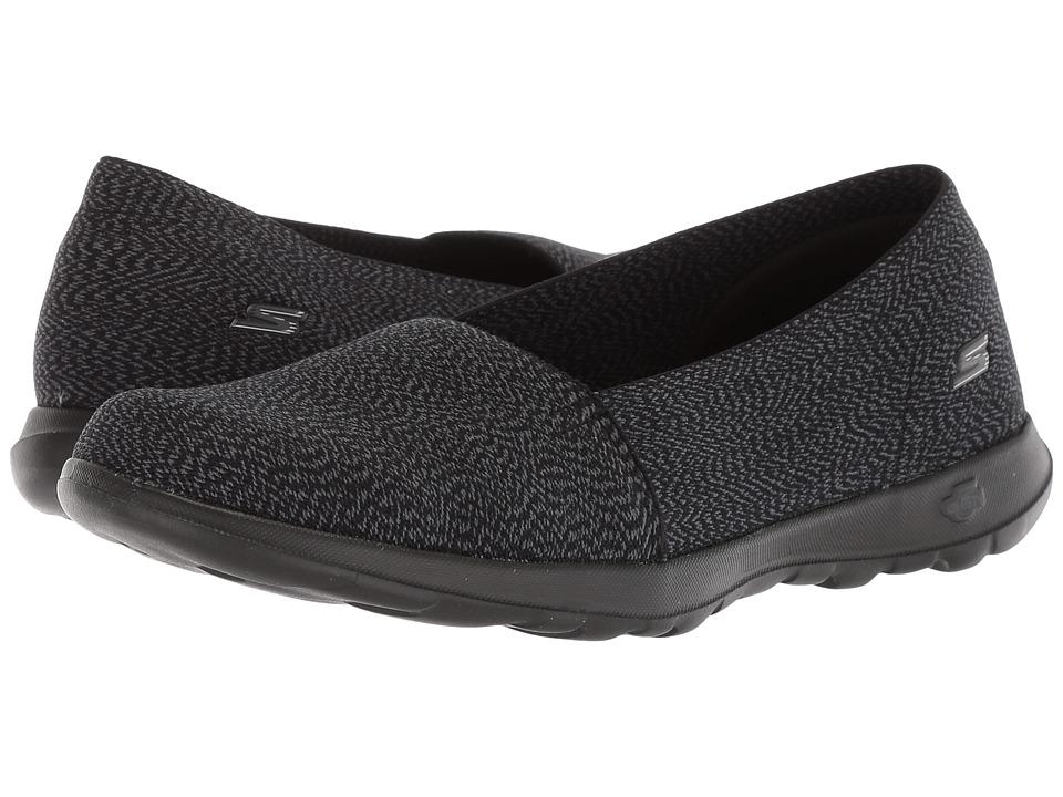 SKECHERS Performance - GOwalk Lite - Smitten Wide (Black/Gray) Womens Slip on  Shoes