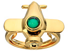 Kenneth Jay Lane Airplane w/ Emerald Center Adjustable Ring