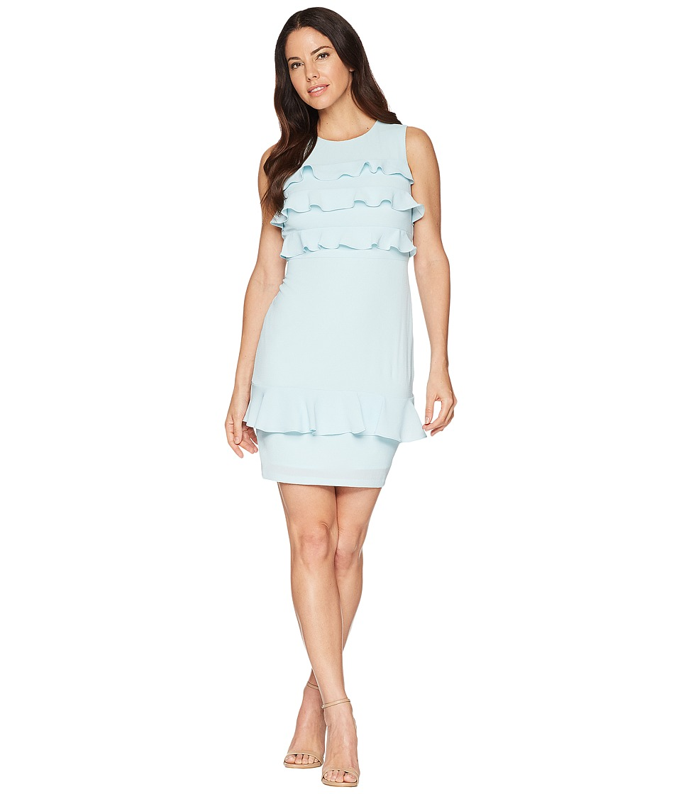 Maggy London - Catalina Crepe Tiered Ruffle Sheath Dress (Powder Blue) Womens Dress