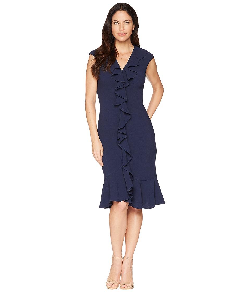 Maggy London - 30s Crepe Cascade Ruffle Front Dress (Navy) Womens Dress