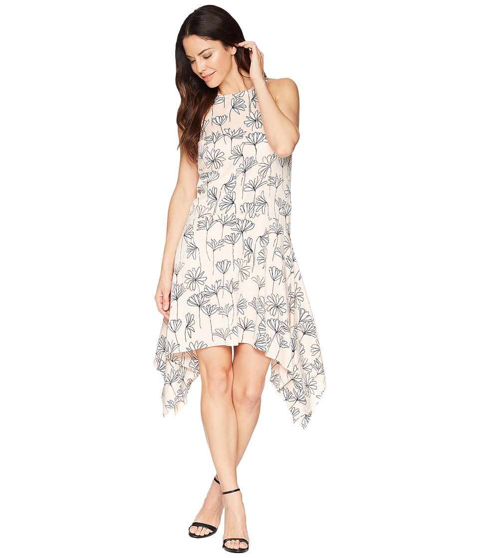 Maggy London - Stick Flower Satin Seersucker Hanky Hem Trapeze Dress (Blush/Soft White) Womens Dress